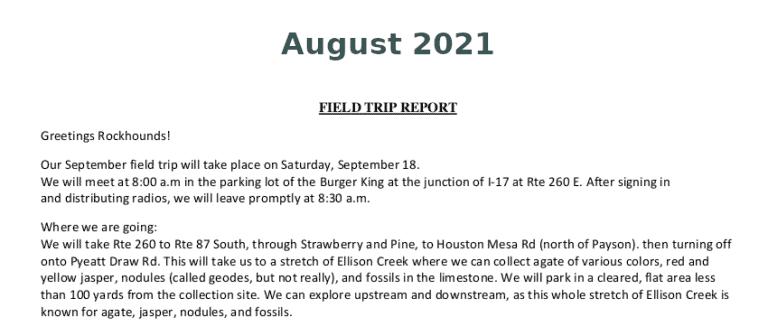 August 2021 Field Trip Report Thumb