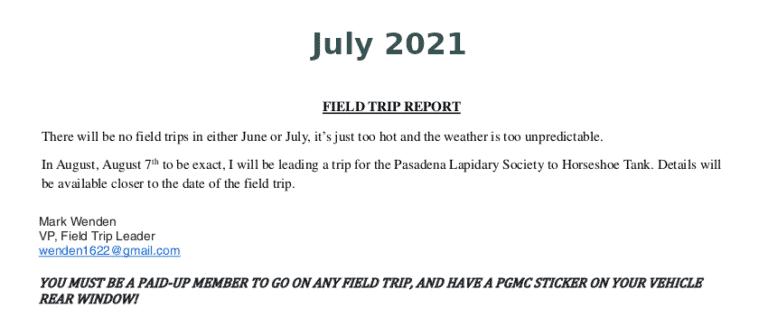 July 2021 Field Trip Report Thumb