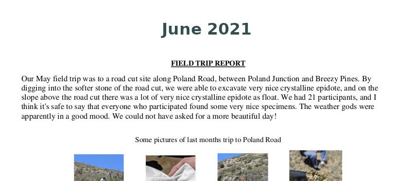 June 2021 Field Trip Report Thumb